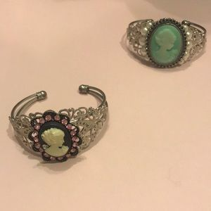 Jewelry - One or Both! Cameo Bracelet in Milky Teal and Pink